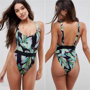 NEW ASOS Tropical Pop Palm Leaf High Leg Swimsuit